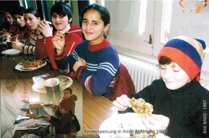 Kinderspeisung in Botosani in der frühen Aufbauphase